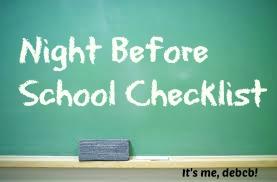 Night before school checklist