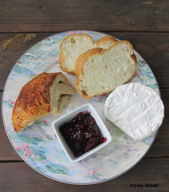 Bread, Butter, Turkey, Brie and Cranberry Sauce