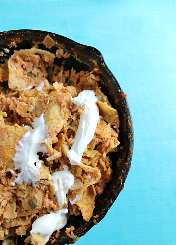 Chicken-Chilaquiles-with-Eggs-in-Skillet