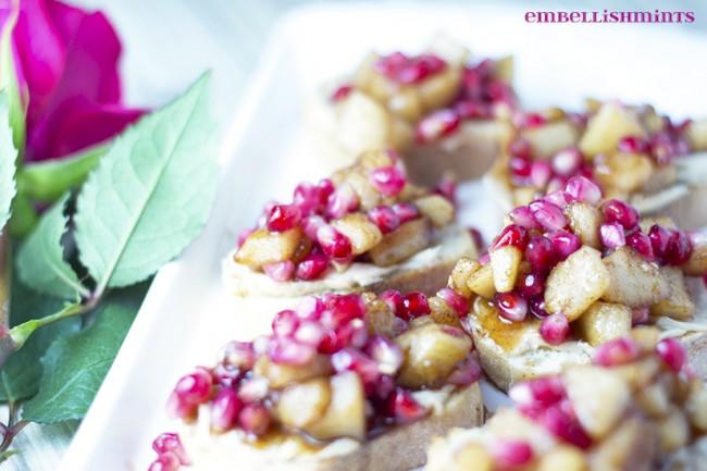 Spiced-Pear-and-Pomegranate-Crostini